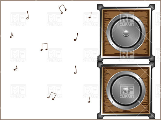 Wooden Audio Speakers Objects Download Royalty Free Vector Clip Art