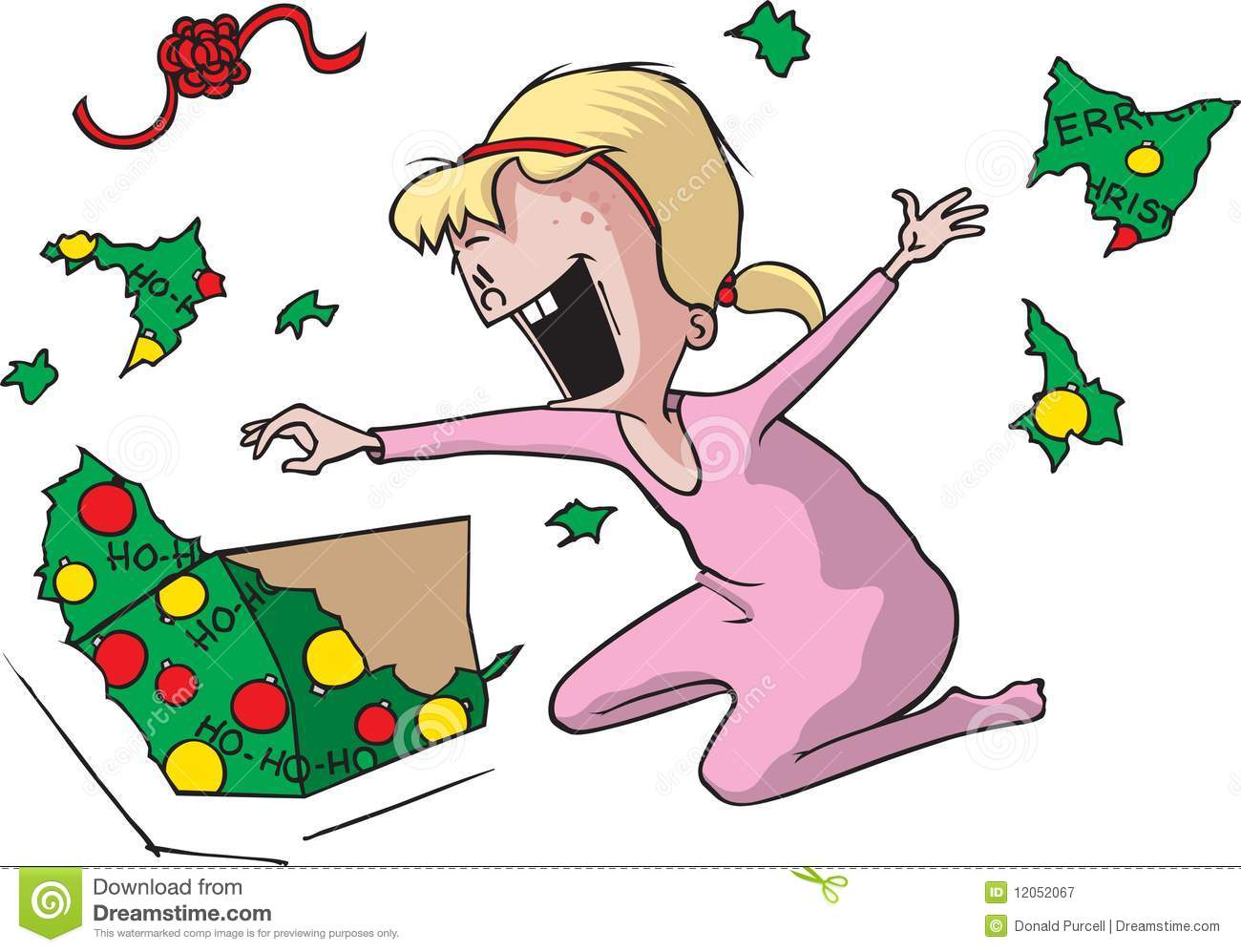 An Excited Cartoon Girl On Christmas Morning Ripping Open A Present