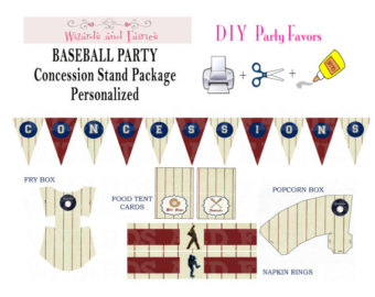 Baseball Party   Concession Stand Package   Personalized And Printable