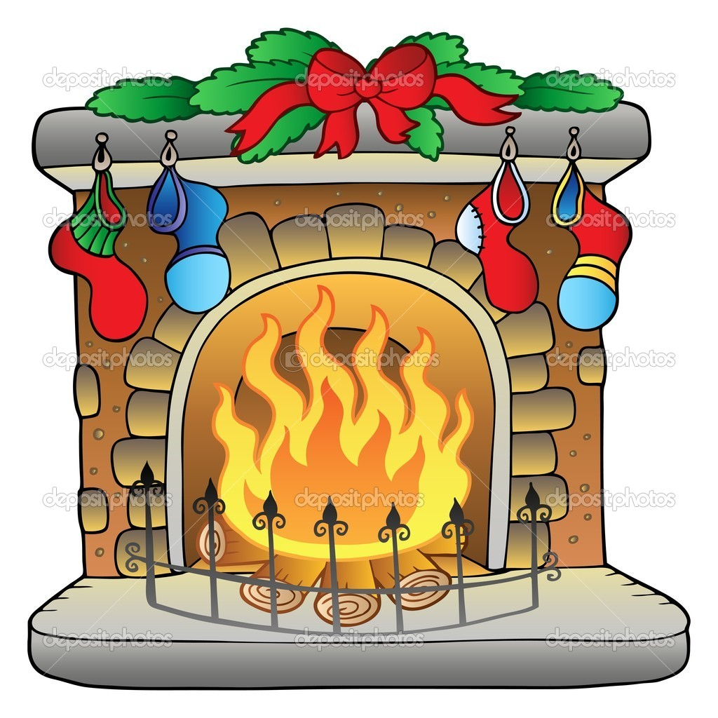 Christmas Cartoon Fireplace   Stock Vector   Clairev  4444375