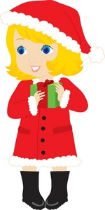Christmas Clipart Image   Little Girl With Christmas Present