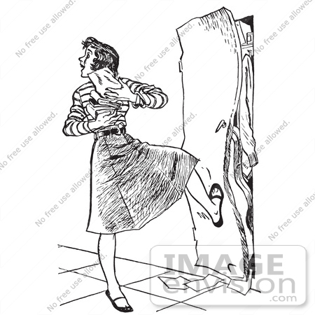 Clipart Illustration Of A Vintage High School Girl With Her Arms Full