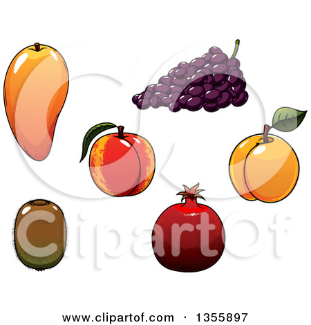 Clipart Of Cartoon Grape Characters   Royalty Free Vector Illustration