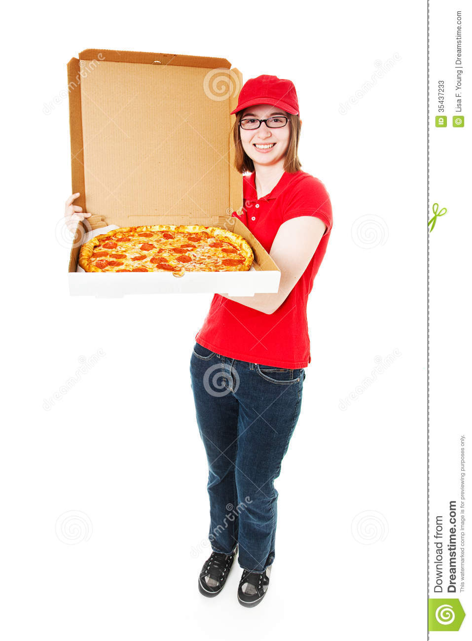 Cute Teenage Girl Delivering Pepperoni Pizza  Full Lbody Isolated On