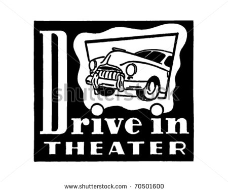 Drive In Movie Sign Clip Art Stock Vector Drive In Theater