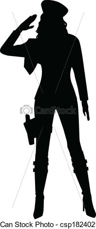 Eps Vectors Of Saluting Military Woman Silhouette   A Silhouette Of A