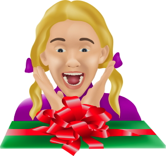 Girl With Present Clip Art