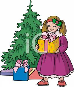 Little Girl Holding A Christmas Present   Royalty Free Clipart Picture