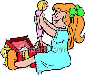 Little Girl Opening A Christmas Present   Royalty Free Clipart Picture