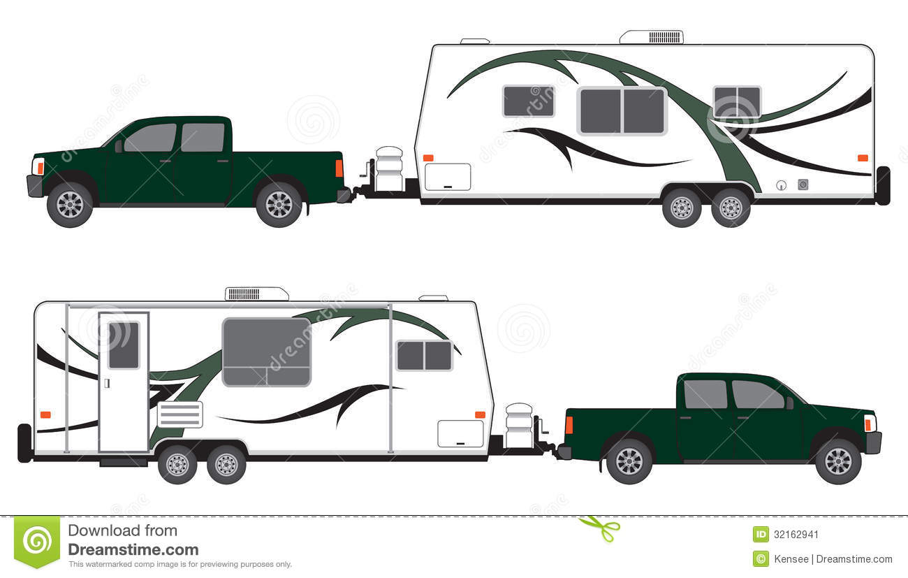 Pickup And Camper Trailer Stock Image   Image  32162941