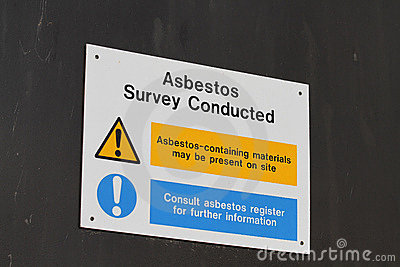 Sign Warning Of Possible Asbestos Contamination And Danger To Health