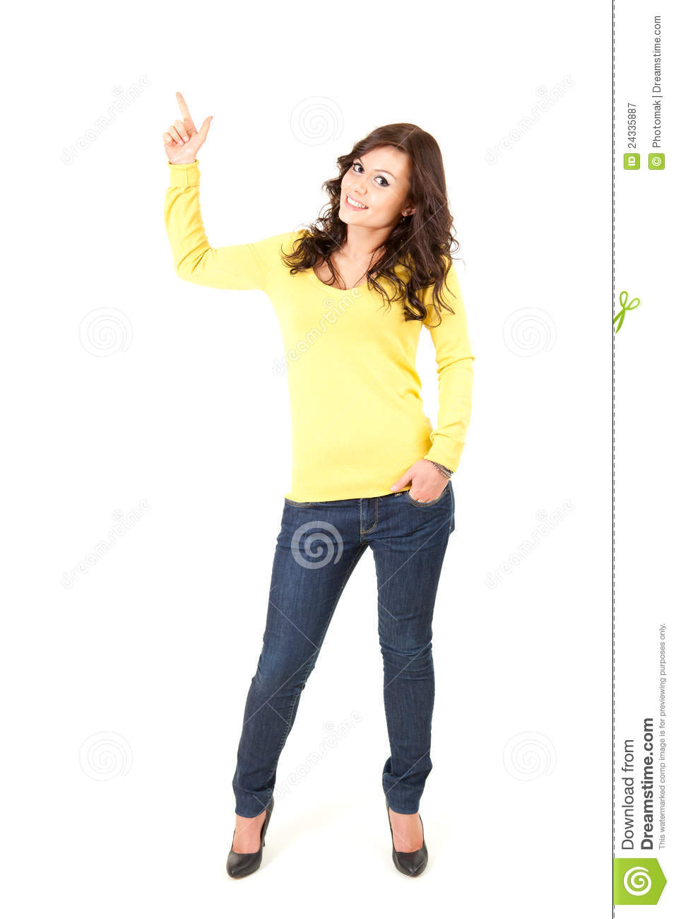 Teenage Girl Pointing Up Full Length Royalty Free Stock Photography
