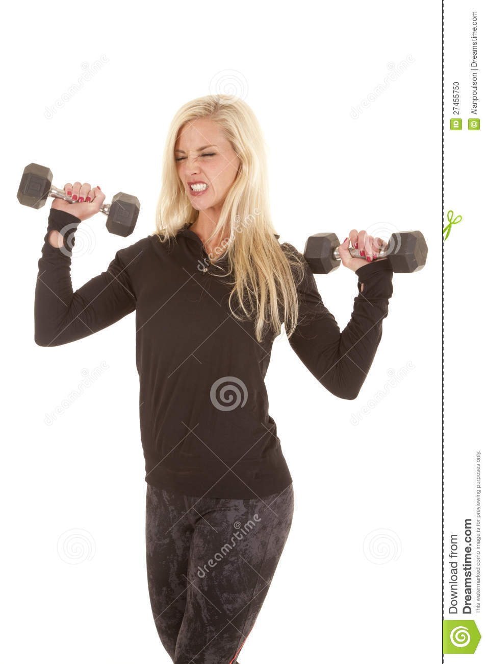 Woman In Black Lifting Two Weights Stock Photo   Image  27455750