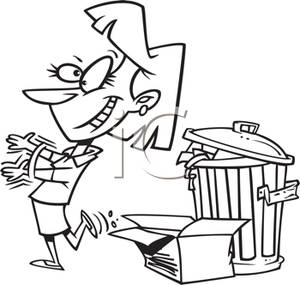 Black And White Cartoon Of A Woman Taking Out The Trash   Royalty