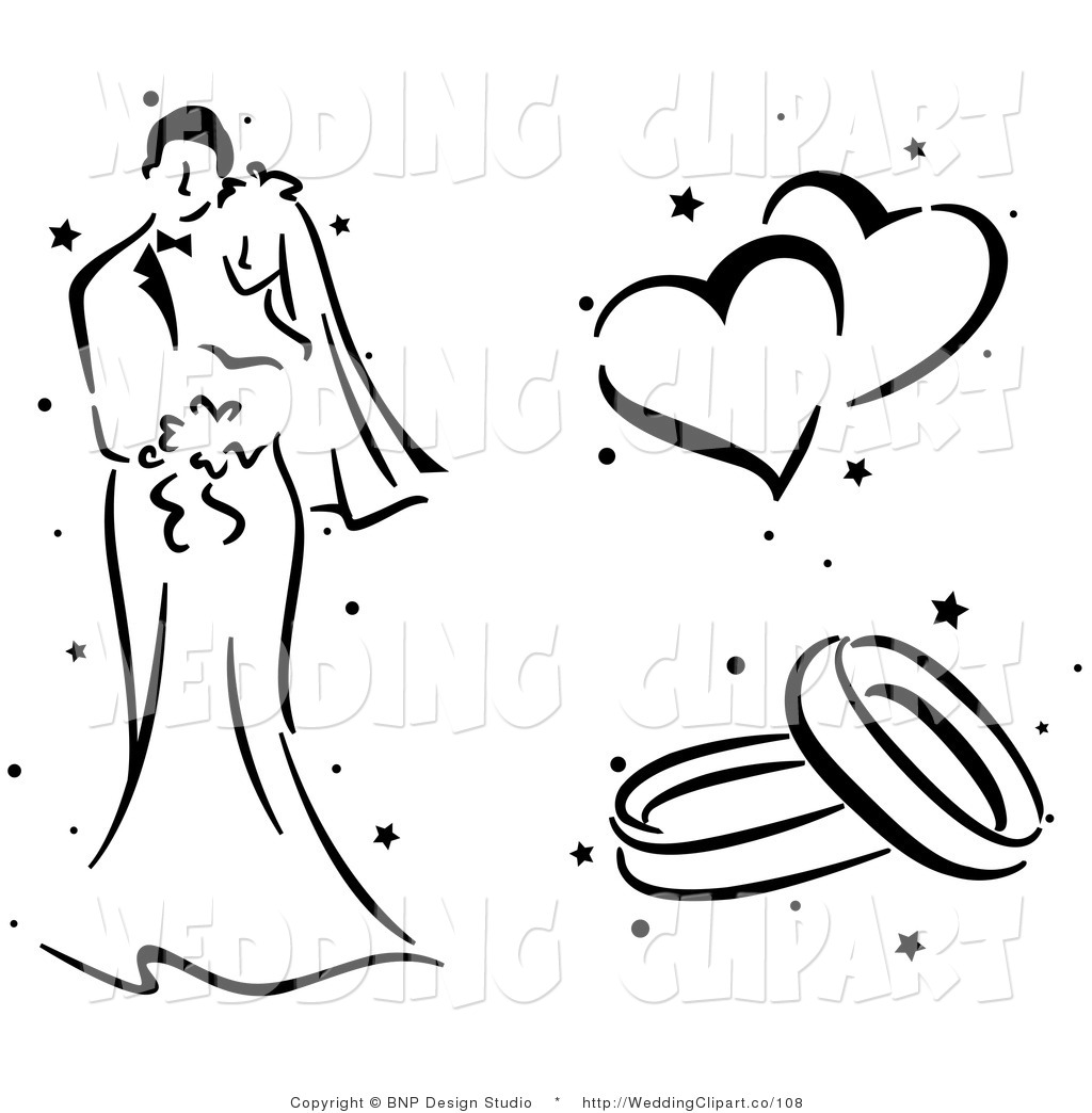 Wedding Couple Black And White Clipart - Clipart Suggest