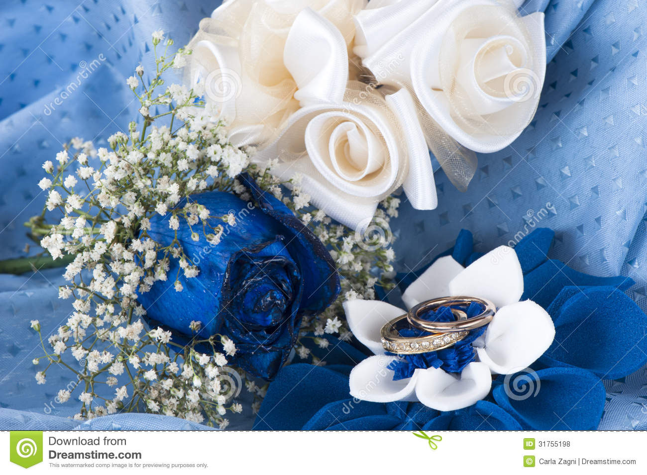 Blue Roses And Wedding Rings Royalty Free Stock Photos   Image