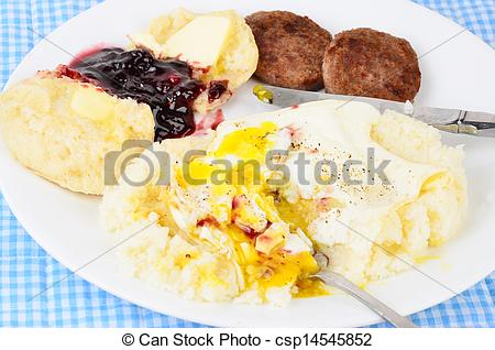 Breakfast Sausage Patty Clipart Eating Fried Egg On Bed Of Grits With