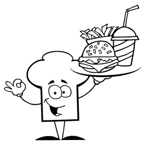 Chef Clipart Image   A Chef Hat Holding A Tray Of Fast Food In Black
