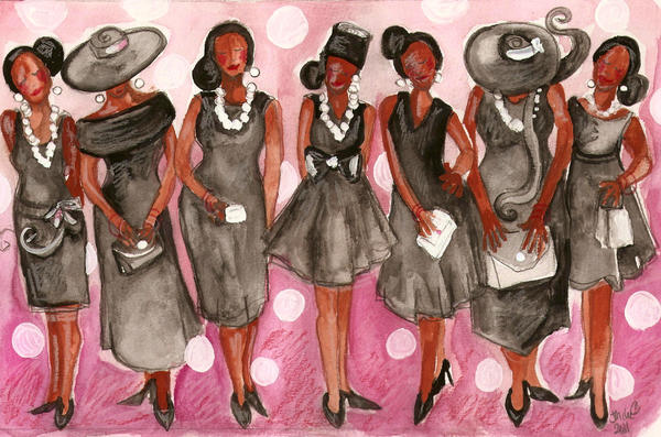 Church Lady Black Dress Painting
