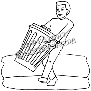 Clip Art  Kids  Chores  Taking Out The Trash B W   Preview 1