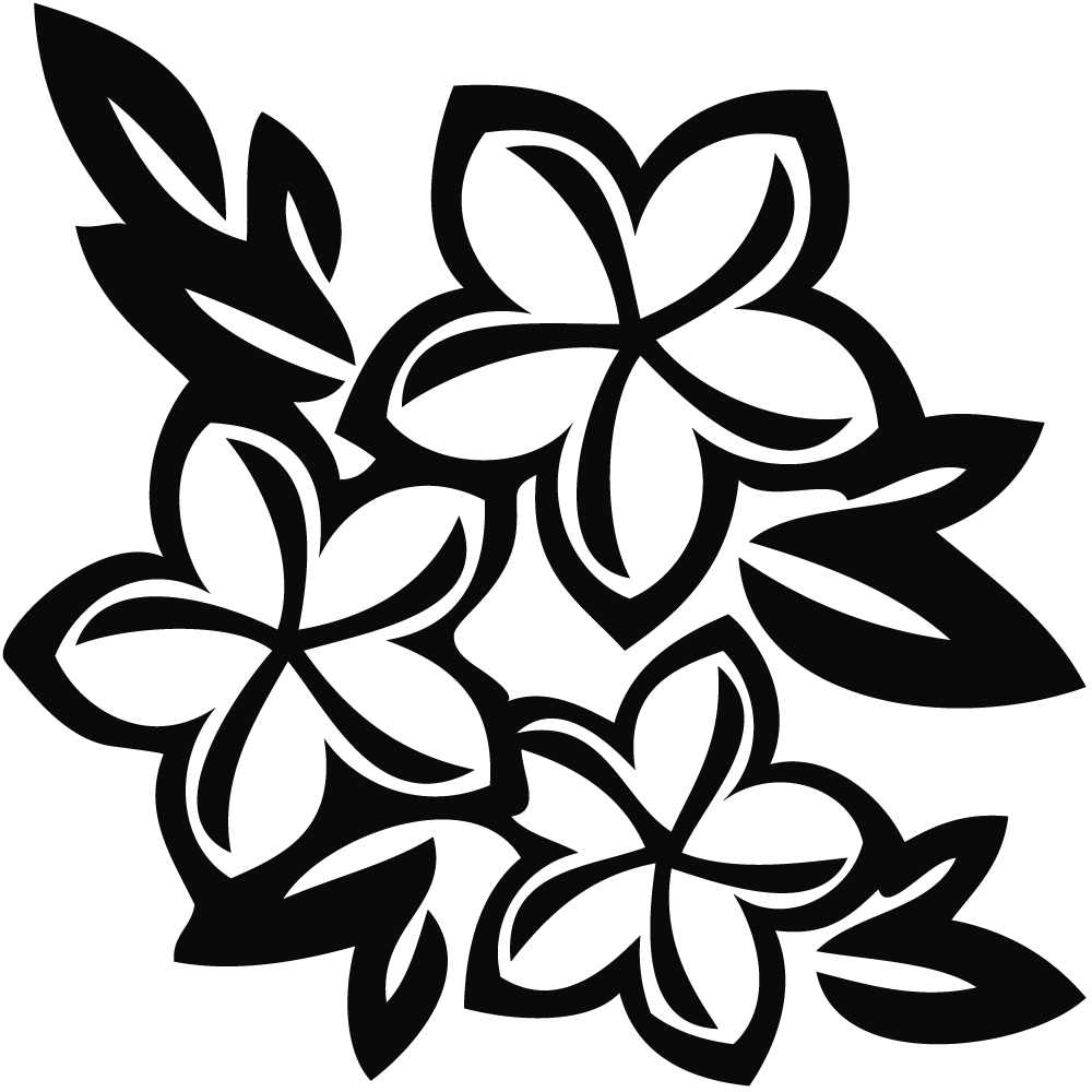 tropical flower black and white clipart clipart suggest