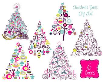 Clip Art Tree Modern Christmas Clipart - Clipart Kid