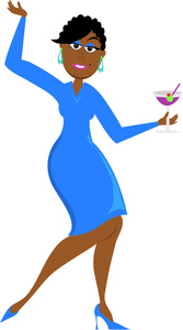 Partying Clipart Image   Clip Art Illustration Of A Sexy Ethnic Woman