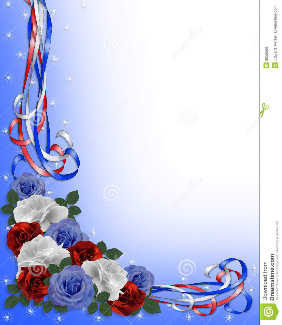 Patriotic Roses Border Red White Blue Royalty Free Stock Image   Image