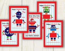 Printable Valentines Cards With Edi Table Text   Robots Valentines Day