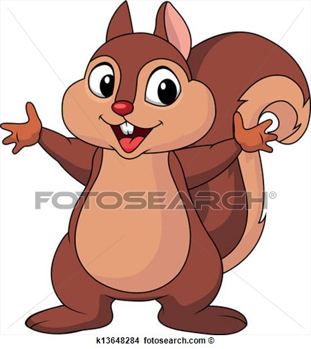 Squirrel Cartoon Waving Hand View Large Clip Art Graphic