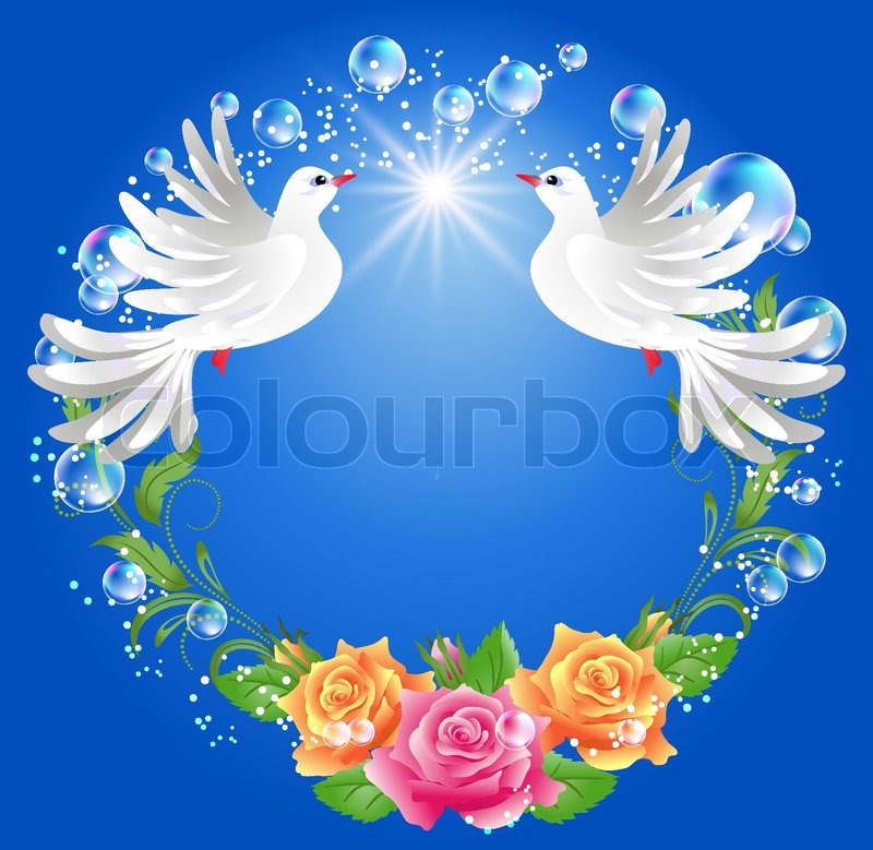 Two Doves On Blue Background With Roses   Vector   Colourbox
