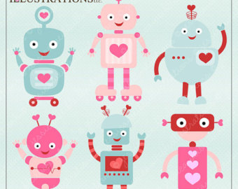 Valentine Robots Cute Digital Clipart For Card Design Scrapbooking