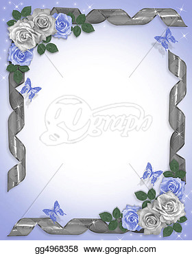 Wedding Border Blue Roses Ribbons  Clipart Drawing Gg4968358   Gograph