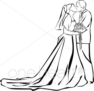 Wedding Ceremony Kiss Clipart   Couples Clipart
