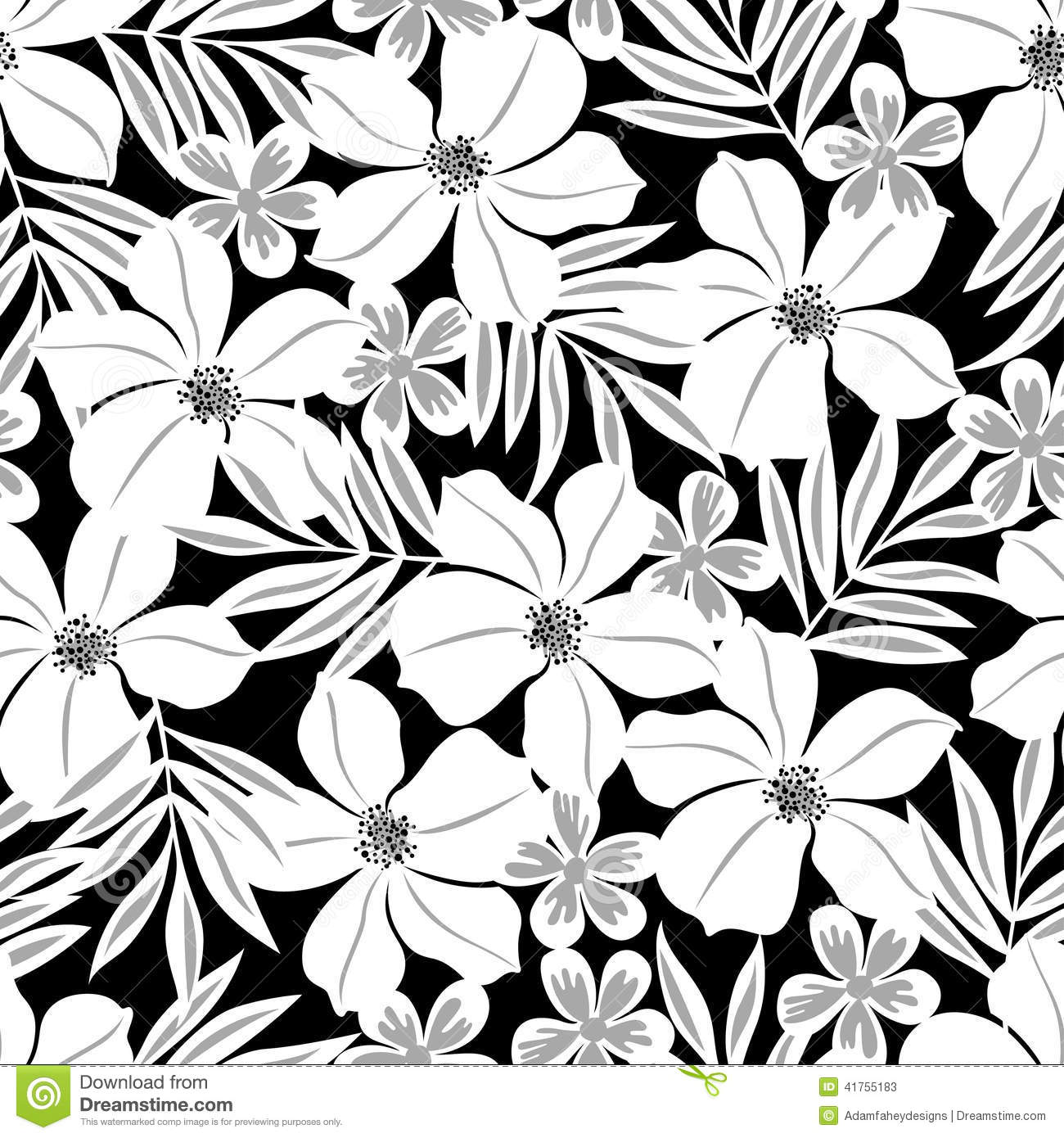 Tropical Flower Black And White Clipart