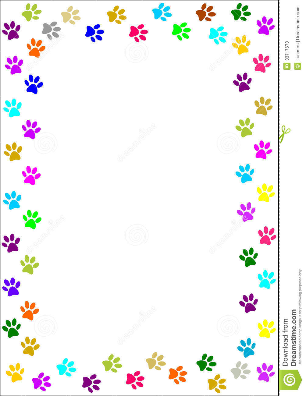 Colored Dog Paw Print Border Colorful Paw Print Border