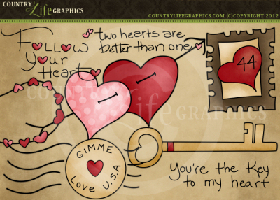 Country Life Graphics   Follow Your Heart Valentine Clipart