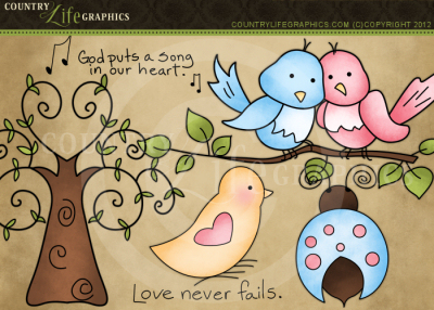 Country Life Graphics   Love Birds Clipart