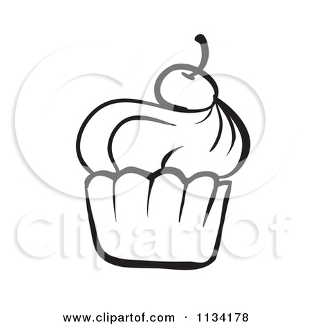 Cupcake Outline Clipart Black And White   Clipart Panda   Free Clipart