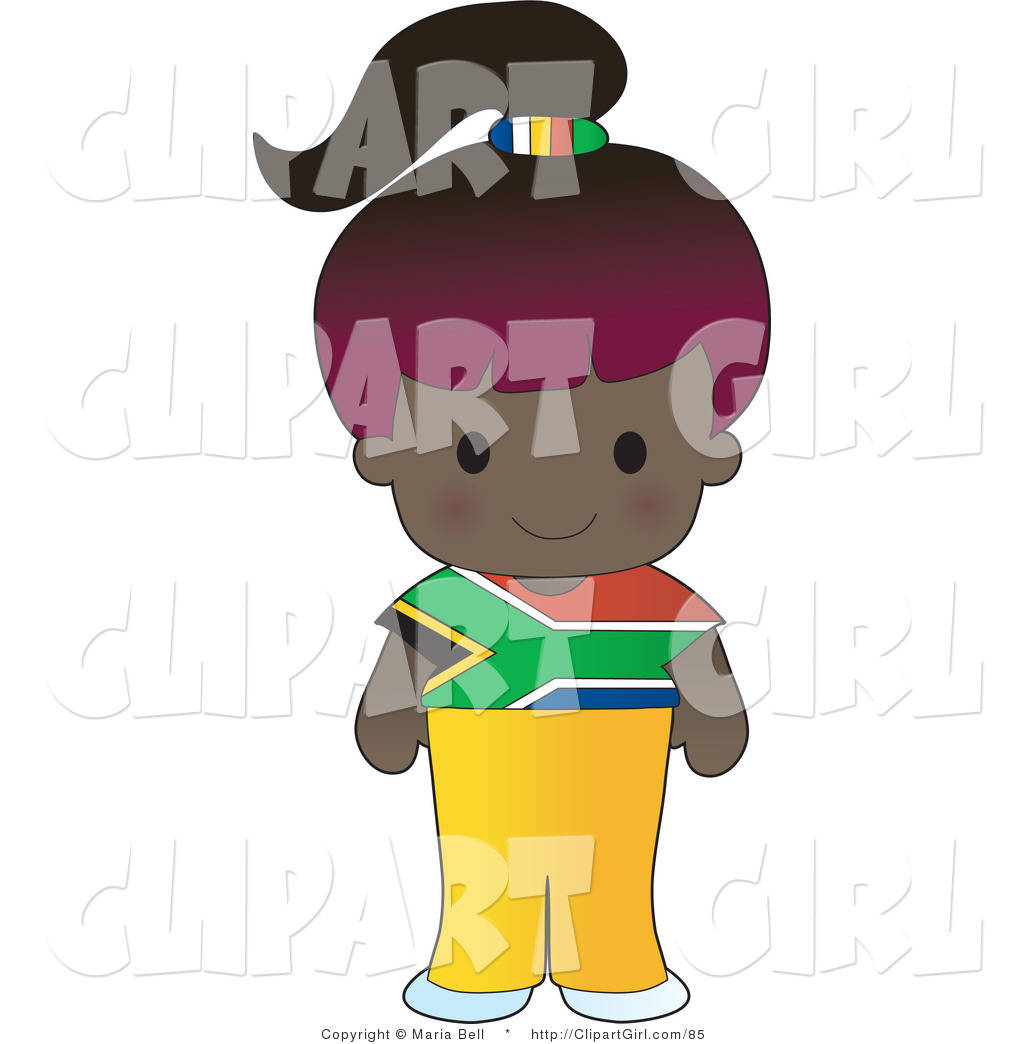 Larger Preview  Clip Art Of A Cute Purple Haired African Girl Wearing