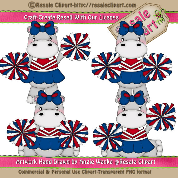 Lil Hippo Cheerleader 1 Clipart Digital Download By Maddiezee