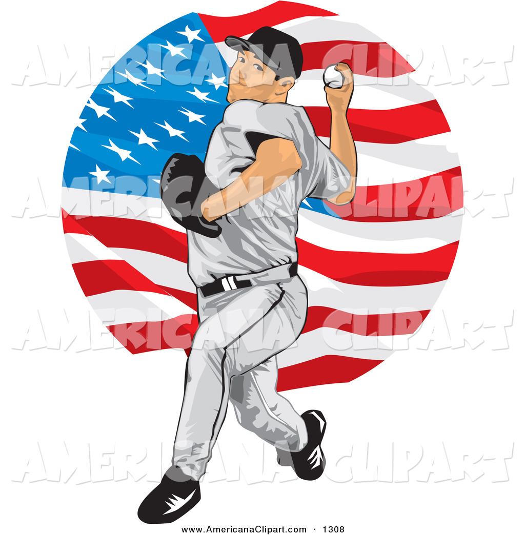 White Athletic Male Baseball Pitcher Over A Background Of The American