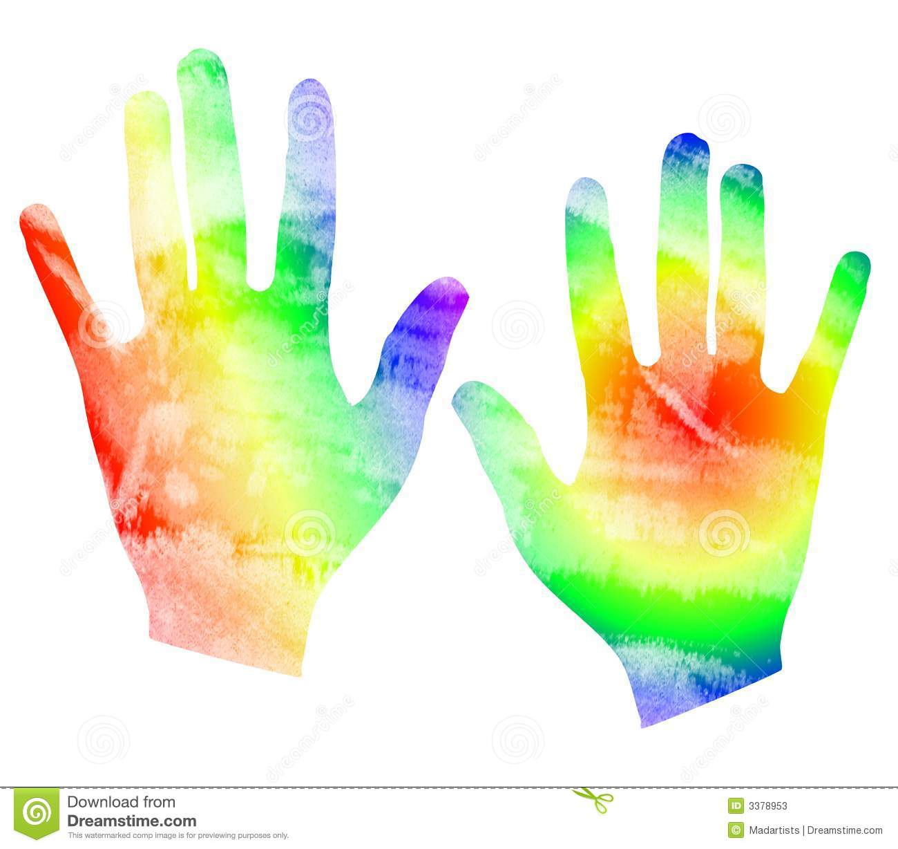 Clip Art Illustration Of A Set Of Hands In Tye Dyed Watercolor Style