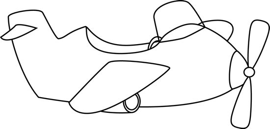 Cute Black And White Airplane Clip Art