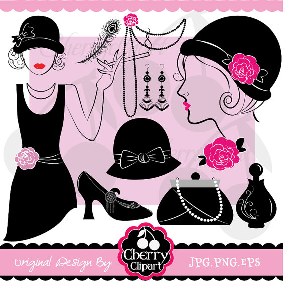 Flapper Girl Retro Party Digital Clipart Set  Personal And Commercial