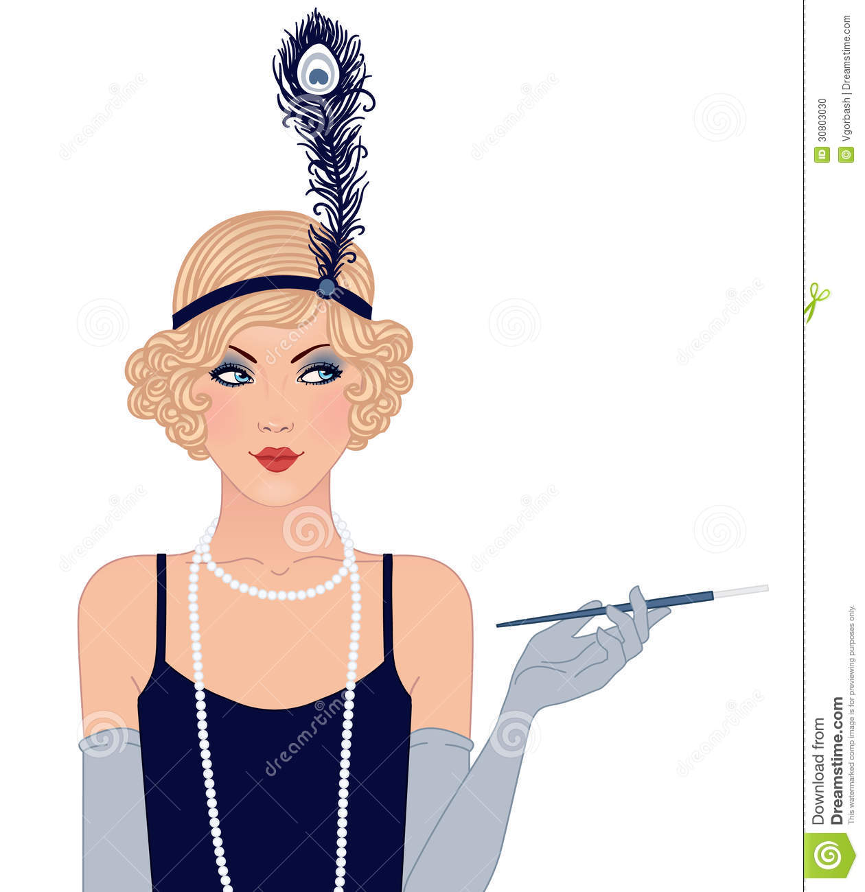 Flapper Girls Set  Young Beautiful Woman Of 1920s  Vintage Style Stock