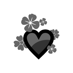 Graphic Design Of Heart Clipart   Black Heart And Flowers With White