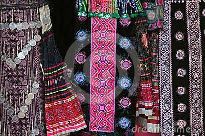 Hmong Tribe Traditional Clothes Hanging In Shop Thailand