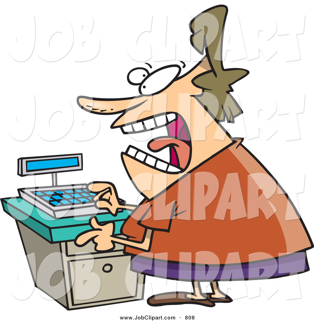 Larger Preview  Job Clip Art Of A Mad Clerk Woman At A Cash Register