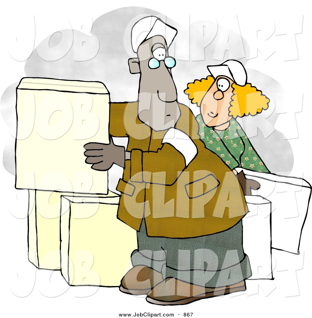 Larger Preview  Job Clip Art Of A Man And Woman Moving White Boxesman